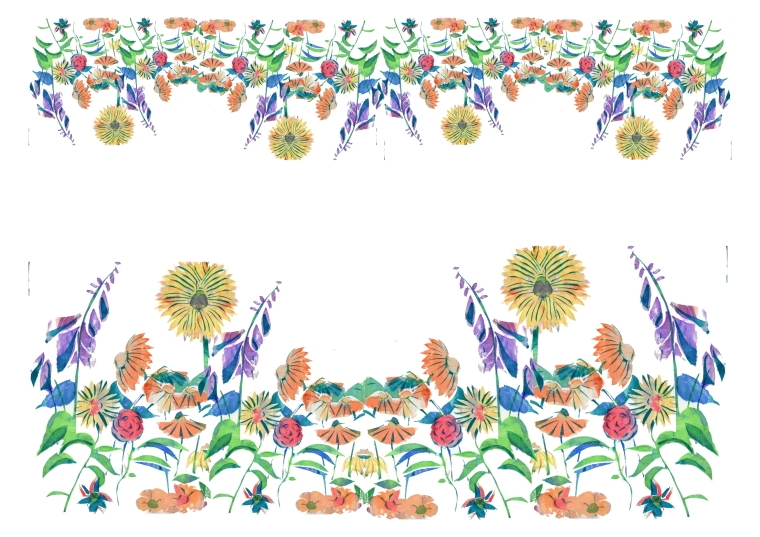 Flowers mocked up as border designs for fabric
